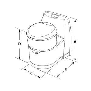 C223-CS Cassette Toilet Dimensions