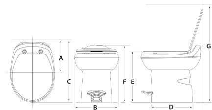 Aqua-Magic Style Plus - Hybrid RV Toilet: China Bowl on a