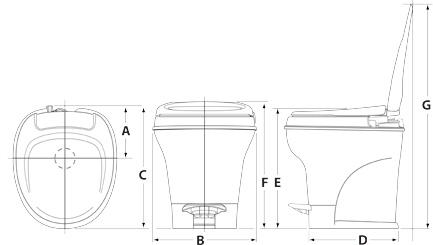 Dimensions - Aqua Magic V Foot Pedal Flush