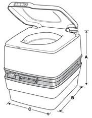 Dimensions for Porta Potti 550P