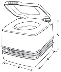 Dimensions for Porta Potti 320P