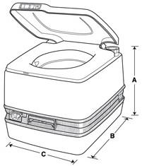 Dimensions for Porta Potti 320P