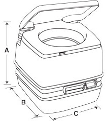 Dimensions for Porta Potti 260B