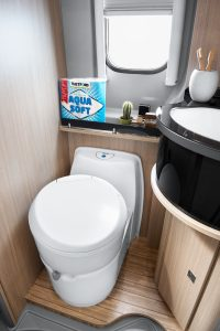 C223-CS Cassette Toilet in vehicle with lid down