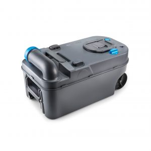 The C220's portable waste tank with rotating no-splash pour spout